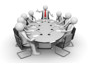 Meeting in conference room (3d isolated characters, businessmen, business concepts series)